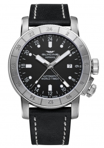 Glycine Airman 44 mm Black Automatic Gmt 24 Ore Swiss Made