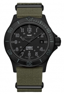 Glycine Combat Sub  42 mm Stealth Black Pvd Automatic Swiss Made Cin. Nato
