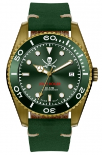 Militum In Bronzo Mod. Veteris Quarzo Svizzero Limited Edition Jolly Roger Numerato da 1 a 100 Green Vetro Zaffiro