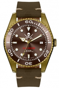 Militum In Bronzo Mod. Veteris Quarzo Svizzero Limited Edition Jolly Roger Numerato da 1 a 100 Brown Vetro Zaffiro