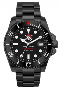 Militum Jolly Roger All Black Automatico Nh35 Limited Edition Numerato 001/100 Doppio Cinturino